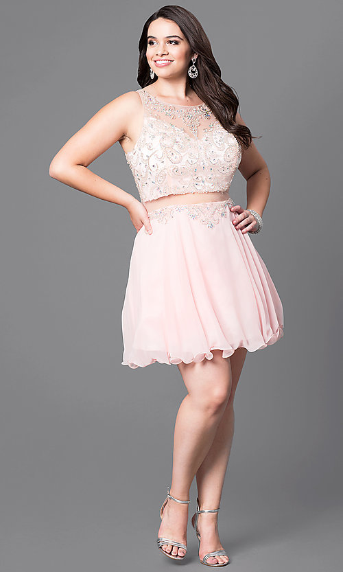 Image of mock two-piece plus-size short party dress.  Style: DQ-9550P Detail Image 1