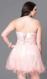 Image of short a-line plus-size homecoming dress with corset.  Style: DQ-8781P Back Image