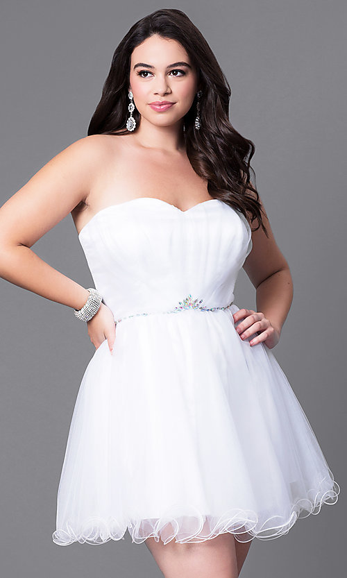 Image of short a-line plus-size homecoming dress with corset.  Style: DQ-8781P Detail Image 2