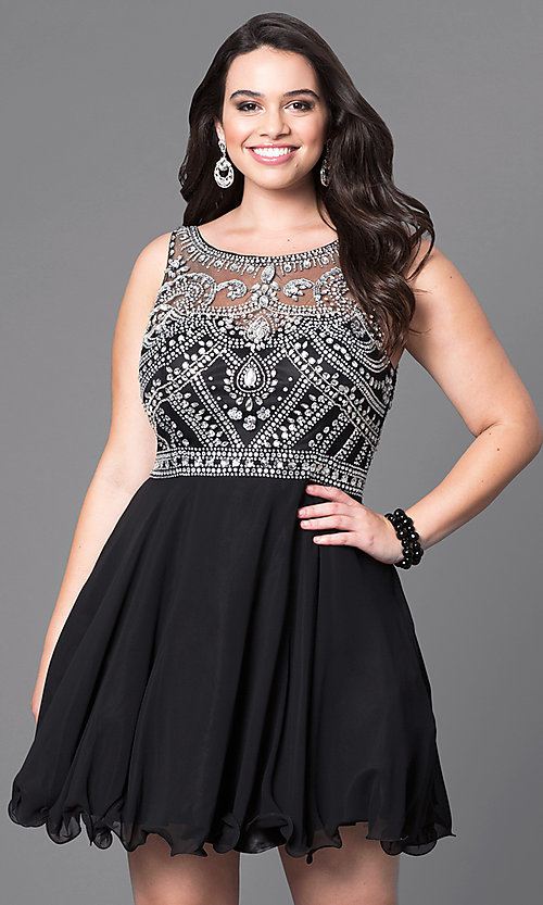 jeweled-illusion short plus-size prom dress-promgirl
