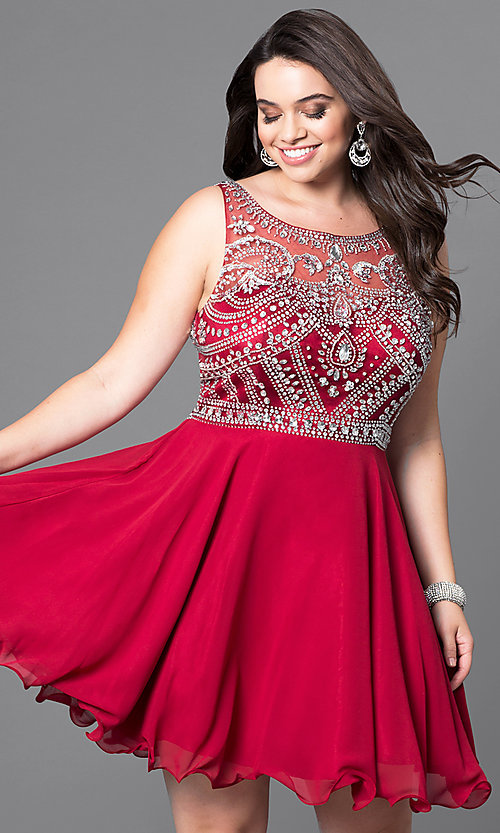 Image of short a-line plus-size prom dress with jeweled bodice. Style: DQ-9523P Front Image