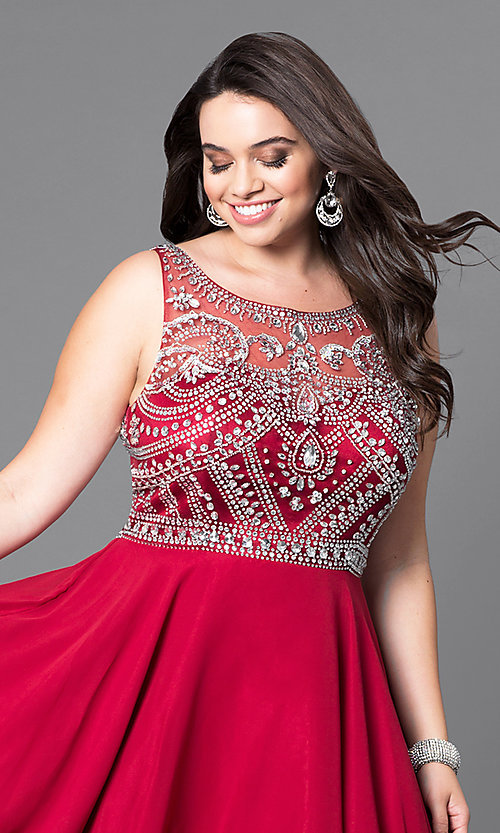 Image of short a-line plus-size prom dress with jeweled bodice. Style: DQ-9523P Detail Image 1