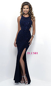 Open-Back Beaded Prom Dress by Blush