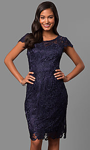 Short Lace Semi-Formal Party Dress with Cap Sleeves