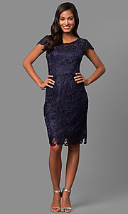 Image of short lace semi-formal party dress with cap sleeves. Style: DQ-9677 Detail Image 1