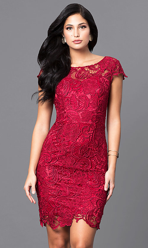 Image of short lace semi-formal party dress with cap sleeves. Style: DQ-9677 Front Image