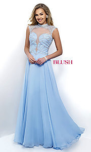 High Neck Blush Prom Dress with Beaded Illusion Back