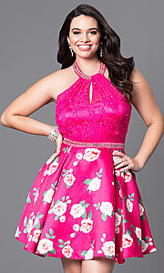Image of plus-size fuschia halter party dress with print skirt. Style: DQ-9499P Front Image