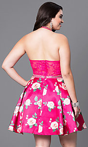 Image of plus-size fuschia halter party dress with print skirt. Style: DQ-9499P Back Image
