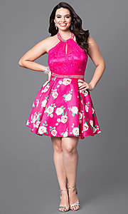 Image of plus-size fuschia halter party dress with print skirt. Style: DQ-9499P Detail Image 1