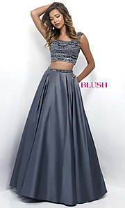 Scoop Neck Two Piece Open Back Prom Dress
