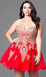 Image of plus-size strapless short homecoming dress with lace. Style: DQ-9484P Front Image