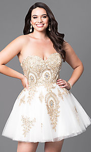 Image of plus-size strapless short homecoming dress with lace. Style: DQ-9484P Detail Image 2