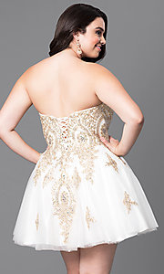 Image of plus-size strapless short homecoming dress with lace. Style: DQ-9484P Back Image
