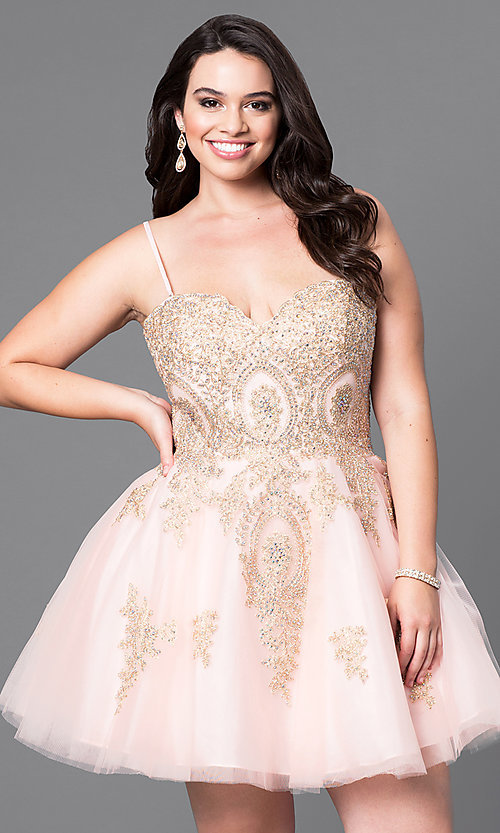 Image of plus-size strapless short homecoming dress with lace. Style: DQ-9484P Detail Image 3