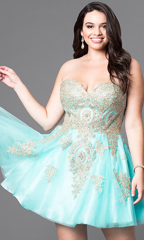 Image of plus-size strapless short homecoming dress with lace. Style: DQ-9484P Detail Image 1