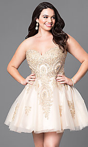 Image of short strapless corset plus-size homecoming dress. Style: DQ-9484Ps Detail Image 3