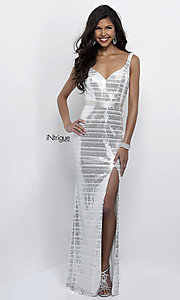 White and Silver Sequin Open Back Prom Dress
