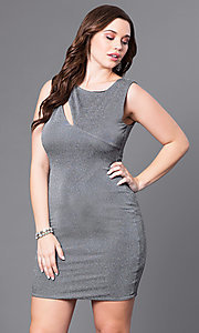 Short Silver Glitter Plus-Size Holiday Dress