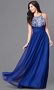 Image of royal blue long prom dress with pleated waistband. Style: MY-2302XY1S Front Image