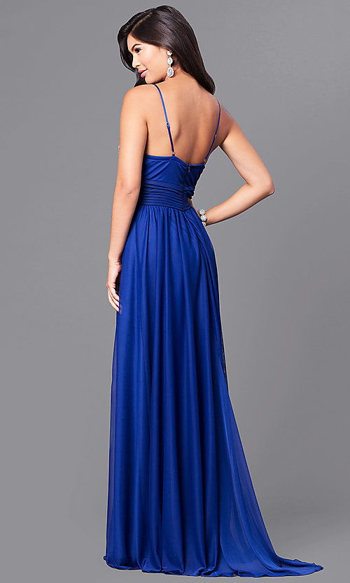 Image of royal blue long prom dress with pleated waistband. Style: MY-2302XY1S Back Image