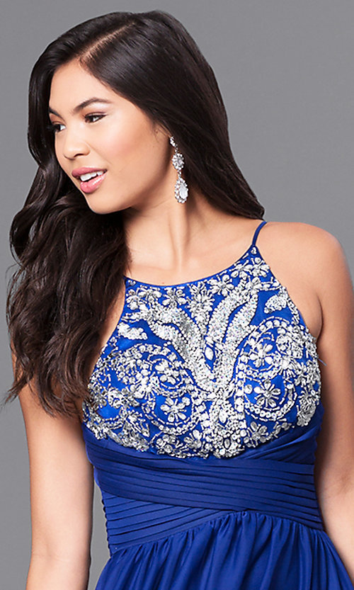 Image of royal blue long prom dress with pleated waistband. Style: MY-2302XY1S Detail Image 1