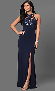 Ruched Jersey Navy Blue Sequined Prom Dress