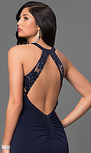 Image of ruched jersey navy blue sequined prom dress. Style: MY-2352YZ1S Detail Image 2