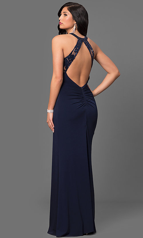 Image of ruched jersey navy blue sequined prom dress. Style: MY-2352YZ1S Back Image