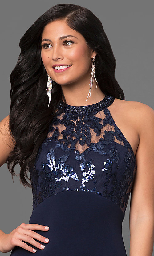 Image of ruched jersey navy blue sequined prom dress. Style: MY-2352YZ1S Detail Image 1