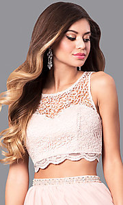 Image of buff pink two-piece long prom dress with lace top. Style: MY-2904YJ1S Detail Image 1