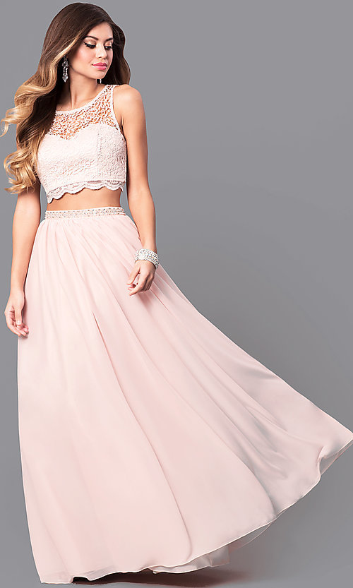 Image of buff pink two-piece long prom dress with lace top. Style: MY-2904YJ1S Front Image