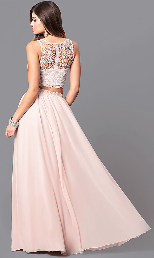 Image of buff pink two-piece long prom dress with lace top. Style: MY-2904YJ1S Back Image