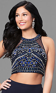 Image of two-piece long navy prom dress with embellished top. Style: MY-4353US1S Detail Image 1
