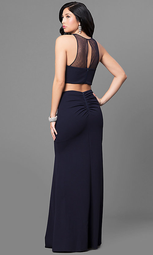 Image of two-piece long navy prom dress with embellished top. Style: MY-4353US1S Back Image
