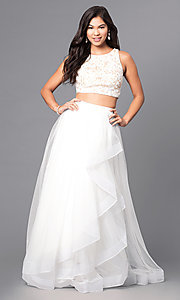 Two-Piece Ivory Long Prom Dress with Lace Top