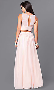 Image of blush pink two-piece prom dress with beaded bodice. Style: MY-4373SJ1S Back Image