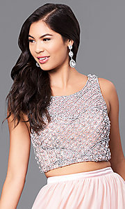 Image of blush pink two-piece prom dress with beaded bodice. Style: MY-4373SJ1S Detail Image 1