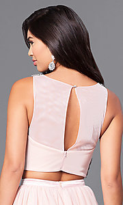 Image of blush pink two-piece prom dress with beaded bodice. Style: MY-4373SJ1S Detail Image 2