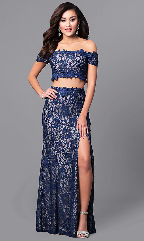 Image of off-the-shoulder two-piece prom dress in navy lace. Style: MY-4377ZJ1S Front Image