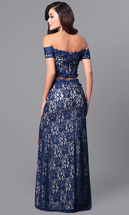 Image of off-the-shoulder two-piece prom dress in navy lace. Style: MY-4377ZJ1S Back Image