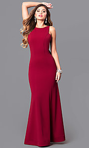 Image of merlot red long prom dress with open back and ruffle. Style: MY-4399US1S Front Image