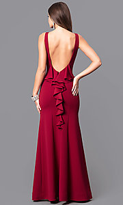Image of merlot red long prom dress with open back and ruffle. Style: MY-4399US1S Back Image
