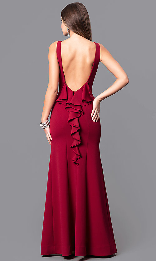 Red Ruffled Long Prom Dresses