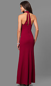 Image of merlot red long junior-size prom dress with choker. Style: MY-4470US1S Back Image