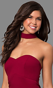Image of merlot red long junior-size prom dress with choker. Style: MY-4470US1S Detail Image 1