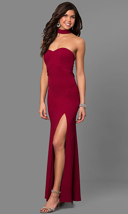 Image of merlot red long junior-size prom dress with choker. Style: MY-4470US1S Front Image