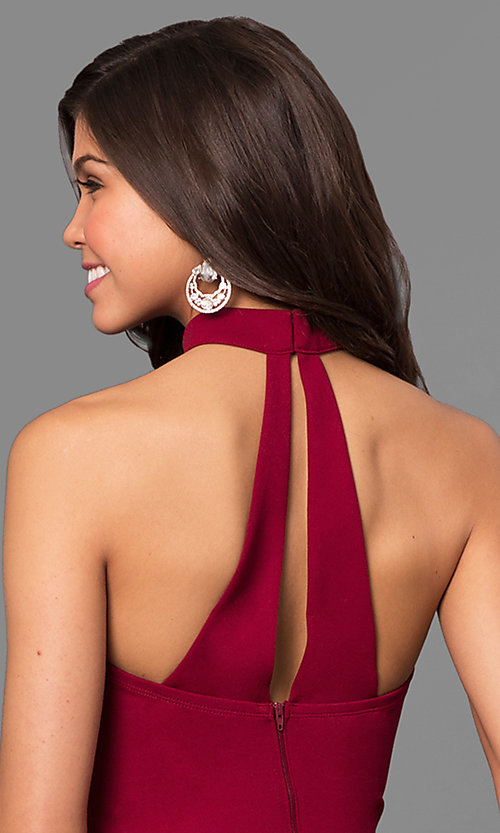 Image of merlot red long junior-size prom dress with choker. Style: MY-4470US1S Detail Image 2