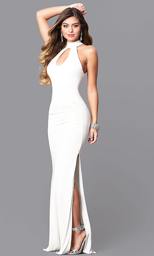 Image of ivory white keyhole high-neck prom dress with cut outs. Style: MY-4494IT1S Front Image