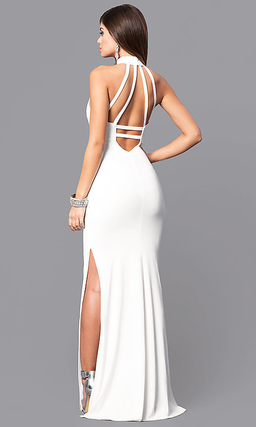 Image of ivory white keyhole high-neck prom dress with cut outs. Style: MY-4494IT1S Back Image